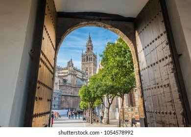 SEVILLE, ES - MARCH 7, 2017: The Patio de Banderas, in the shape of an old neighborhood patio, is located within the surroundings of the Reales Alcazares of the Spanish city of Seville.