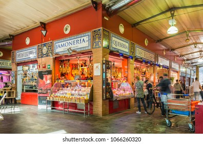 SEVILLE, ES - MARCH 7, 2017: The Triana market is located in the emblematic Plaza del Altozano, the gateway to the neighborhood from Seville through the Triana Bridge.