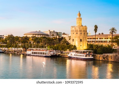 SEVILLE, ES - MARCH 7, 2017: The Torre del Oro in Seville is an albarrana tower located on the left bank of the Guadalquivir River. It houses the Naval Museum of Seville.