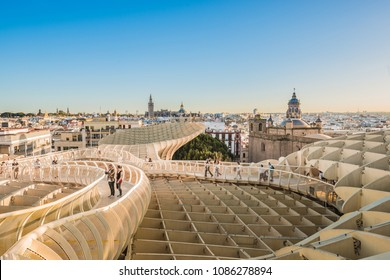 SEVILLE, ES - MARCH 9, 2017: The Metropol Parasol (officially called Setas de Sevilla) is a structure in the shape of a pergola made of wood and concrete located in Seville, Andalusia, Spain.