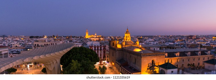 Seville at night, Spain / Panoramic top view of the historical part of the city