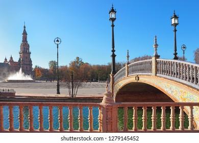 Seville, Plaza de Espana (Spain square), Andalusia, Spain
