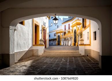 Seville - Plaza de toros at Sevilla. Seville Real Maestranza bullring plaza toros de Sevilla in Andalusia, Spain
