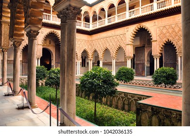 Seville, Spain- 02.27.16- The beautiful patio in the famous and historic royal palace Real Alcazar of Seville