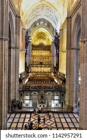 SEVILLE - SPAIN / 04.06.2017: The marble facade behind the Coro (Choir stalls) in Seville Cathedral Seville, Andalusia, Spain
