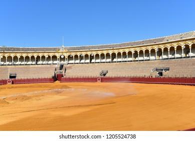 SEVILLE - SPAIN / 04.07.2017: Bull Fighting Ring Plaza de Toros, Sevilla, Andalucia, Spain