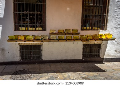 Seville, Spain : 18 June 2017: Spices and digestive pills on display in Seville, Spain, Europe