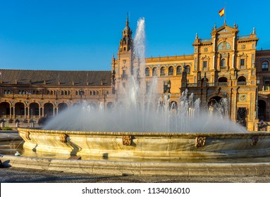 Seville, Spain - 18 June 2017:The plaza de espana . It is in the Maria Luisa Park built in 1928 for the Ibero-American exposition of 1929.It is a landmark example of the Regionalism Architecture