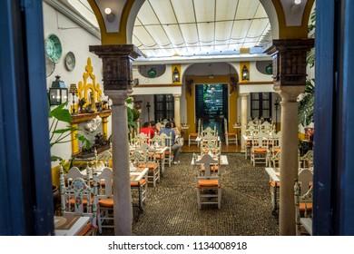 Seville, Spain - 18 June 2017:View inside a restaurant in Seville, Spain, Europe