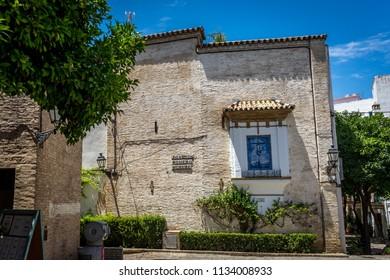Seville, Spain - 18 June 2017:View of joaquin romero murube street in sevilla. Joaquin was a spanish author born on July 18, 1904, Europe