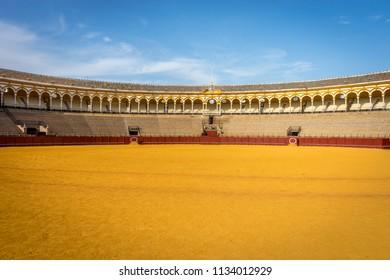 Seville, Spain - 19 June 2017: Bull fighting ring Plaza de Toros de la Maestranza.The  Real Maestranza de Caballería de Sevilla is a 12,000-capacity bull fighting ring in Seville