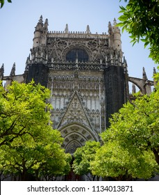 Seville, Spain - 19 June 2017: The facade of the gothic church in Seville, Spain, Europe. The Seville Cathedral, also known as Cathedral of Saint Mary of the See is the world's largest cathedral