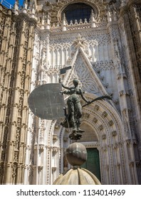 Seville, Spain - 19 June 2017: lady of faith at the gothic church in Seville, Spain, Europe. The Seville Cathedral, also known as Cathedral of Saint Mary of the See is world's largest cathedral