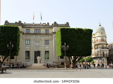 SEVILLE, SPAIN - 20 JULY 2019: Bank of Spain in Seville