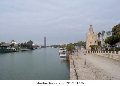 Seville Spain  Andalusia province panoramic view over Guadalquivir river