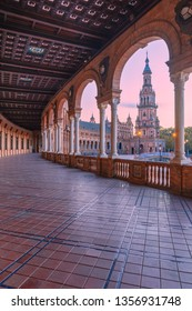 [Seville, Spain - Apr 01 2019]: Spain, Andalusia, Seville, foreshortenings of the architectures of Plaza de Espana