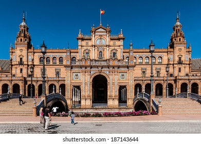 SEVILLE, SPAIN - APR 13, 2014: Central building at the Plaza de Espana in Seville, Andalusia, Spain. It's example of the Renaissance Revival style in Spanish architecture.