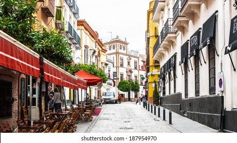 SEVILLE, SPAIN - APR 14, 2014: Architecture of the Historic centre of Seville, Spain. Historic centre of Seville is protected by UNESCO