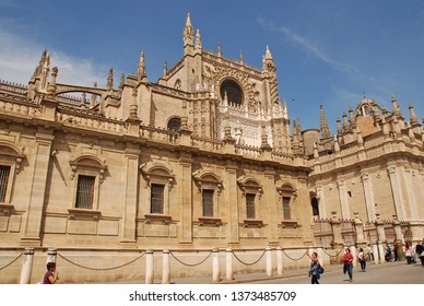 SEVILLE, SPAIN - APRIL 2, 2019: The cathedral of Santa Maria de la Sede. Begun in 1402, it is the largest Gothic cathedral in the World.