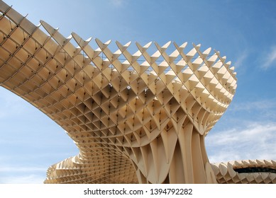 SEVILLE, SPAIN - APRIL 2, 2019: Exterior of Las Setas de Sevilla (Metropol Parasol). Completed in 2011, it is said to be the largest wooden structure in the World.