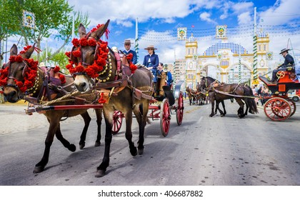 Seville, Spain - April 2016: The April Fair (Feria de Abril) is a traditional festival of the city of Seville, Andalusia, Spain. It takes place in the month of April for a week.