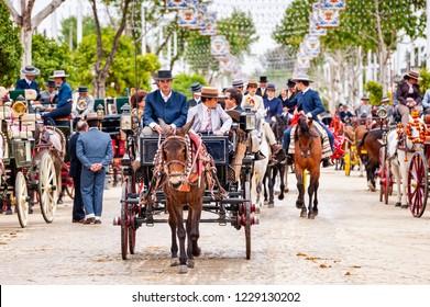 SEVILLE, SPAIN - APRIL 26, 2012 - Horse and carriages at Seville April Fair
