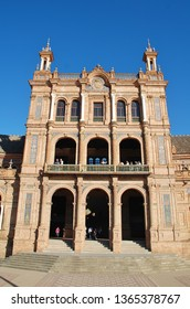 SEVILLE, SPAIN - APRIL 3, 2019: Exterior of the historic Plaza de Espana. It was built for the 1929 Ibero -American Exposition.