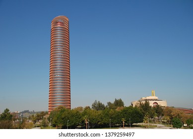 SEVILLE, SPAIN - APRIL 3, 2019: The Torre Sevilla office and hotel building. Completed in 2015, the 40 storey building is the tallest in Seville.