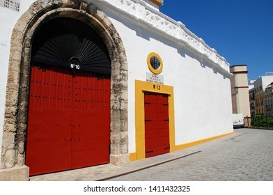 SEVILLE, SPAIN - APRIL 3, 2019: Exterior of the Plaza de Toros de la Real Maestranza. Started in 1749, the bullfighting ring has a capacity of twelve thousand and is among the oldest in Spain.
