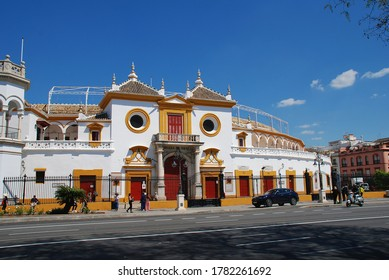 SEVILLE, SPAIN - APRIL 3, 2019: The Plaza de Toros bullring. Dating from 1762 it is one of the oldest in Spain.
