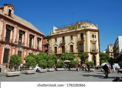 SEVILLE, SPAIN - APRIL 3, 2019: The historic Plaza Virgen de Los Reyes. The popular square is in the Santa Cruz quarter of the City.
