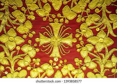 SEVILLE, SPAIN -April 9, 2019: The beautiful details of an ornately embroidered Spanish dalmatic