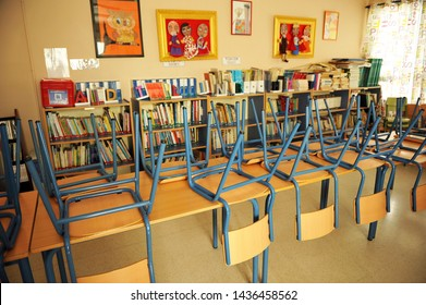 Seville, Spain - Aug 20, 2012: Classroom of a public school of primary education on holidays
