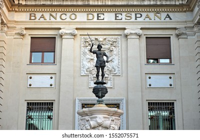 Seville, Spain - Aug 3, 2013: Building of the Bank of Spain (Banco de España) with the Mercury Fountain located in Seville downtown, Andalusia, Spain