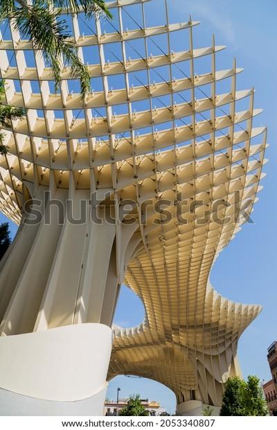 SEVILLE, SPAIN - AUGUST 12, 2021: Seville Metropol Parasol (Sevilla Mushrooms) (Las Setas De Sevilla), Plaza de la Encarnacion, Seville, Spain, Andalusia, Spain, Europe