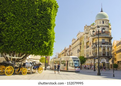 SEVILLE, SPAIN - August 9: Building designed by Espiau on August 9, 2013 in Seville, Spain. Espiau was a Spanish architect who did most of his work in Seville at the first of the 20th century.