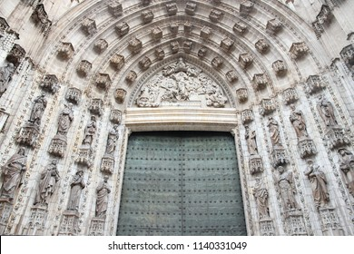 Seville, Spain - the cathedral door. UNESCO World Heritage Site.