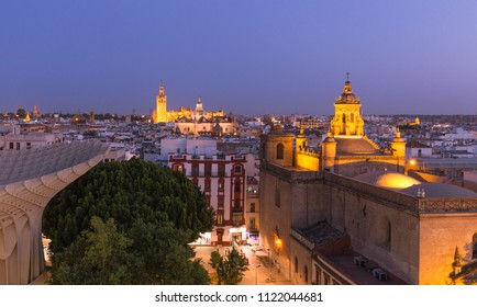 Seville, Spain. City skyline at dusk