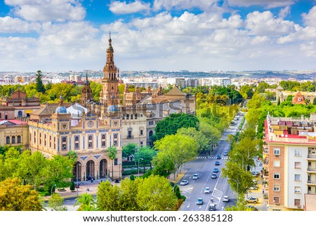 Seville, Spain cityscape with Plaza de Espana buildings.