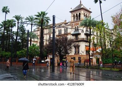SEVILLE, SPAIN - DECEMBER 29, 2009: Square and streets of Seville in December, Spain,