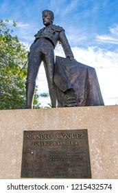 SEVILLE, SPAIN - DECEMBER 6, 2017: Monument to the famous Spanish bullfighter Manolo Vazquez (Manuel Vazquez Garces) in Paseo de Cristobal Colon, Seville, Andalusia, Spain