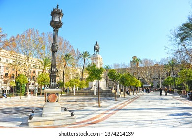 Seville, Spain - Feb 17, 2016: Plaza Nueva (New Square) located in downtown of Seville with the statue of King San Fernando in the center.