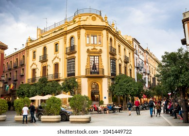 SEVILLE - SPAIN: FEBRUARY 27, 2018. Located in the heart of historic Seville, the Plaza de la Virgin de los Reyes is probably the best place to start a visit to the city.