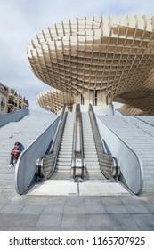 SEVILLE, SPAIN - FEBRUARY 3, 2015: Part of the Metropol Parasol on the Plaza de la Encarnacion in Seville