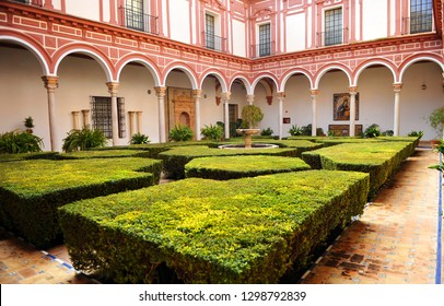 Seville, Spain - Jan 22, 2015:  The boxwood courtyard (Patio de los boj). Museum of Fine Arts in Seville, Andalusia, Spain