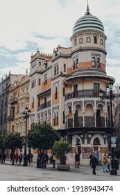 Seville, Spain - January 19, 2020: View of Edificio de La Adriatica, a famous eclectic building by the architect Jose Espiau y Munoz for the important insurance company La Adriatica.