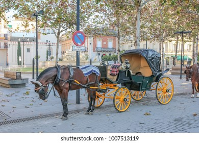 SEVILLE, SPAIN - JANUARY 20, 2018: Horse and cart, Seville, Andulucia. Seville is the capital and largest city of the autonomous community of Andalusia.