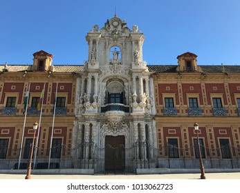 Seville, Spain - January 2018: View of the main facade of the San Telmo Palace. Baroque building, which is currently the seat of the Presidency of the Junta de Andalucía