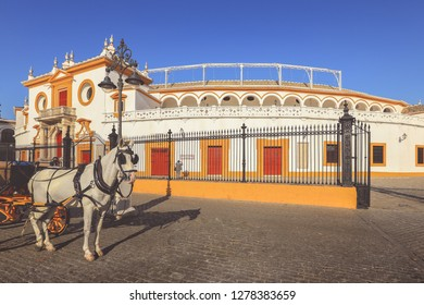 Seville, Spain - January 3, 2019: historic amphitheater Plaza de Toros. Seville is the capital of Andalusia and the 4th largest city in Spain