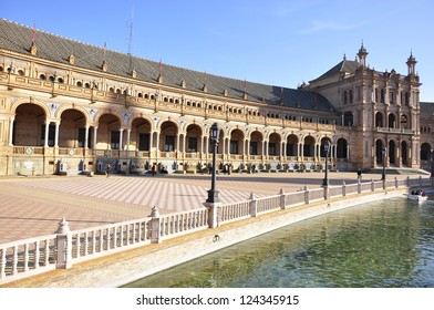 SEVILLE, SPAIN - JANUARY 6:Tourists enjoy a trip on Plaza de Espana at day the Three Kings on Jan 6, 2013 Seville It was built in 1928 for the Ibero-American Exposition of 1929 designed by A. Gonzalez